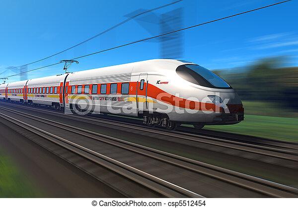 élevé, vitesse,  train, moderne - csp5512454