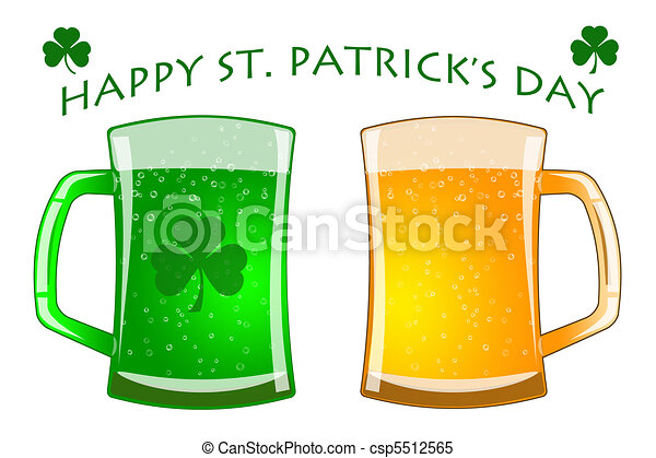 Happy St Patricks Day Glasses of Green and Draft Beer - csp5512565