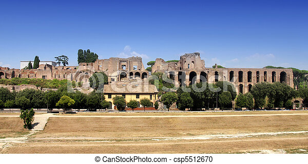 Ruins of Palatine hill palace in Rome, Italy - csp5512670
