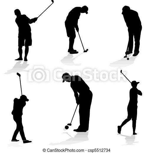 Golf players silhouette - csp5512734
