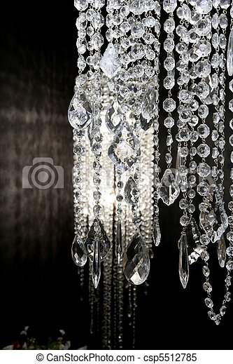 crystal strass lamp white over black background - csp5512785