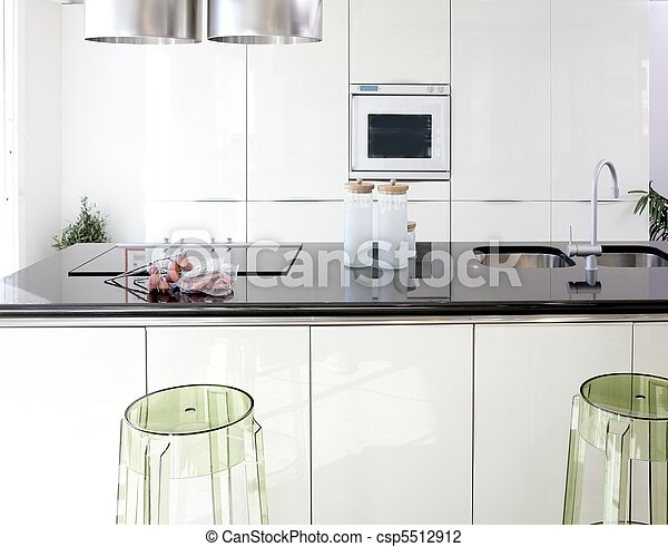 Modern white kitchen clean interior design - csp5512912