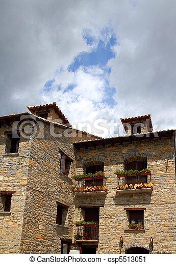 Ainsa medieval romanesque village street Spain - csp5513051
