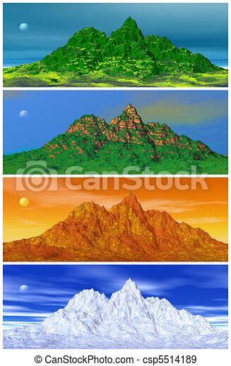 illustration de quatre montagne saisons paysages de a montagne les csp5514189. Black Bedroom Furniture Sets. Home Design Ideas