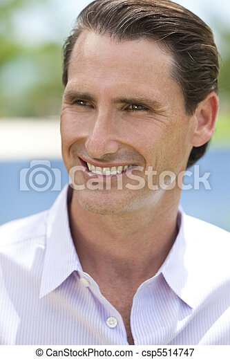Outdoor Portrait of Happy Handsome Middle Aged Man - csp5514747