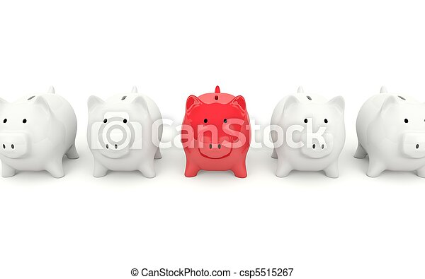 Red piggy bank isolated on white - csp5515267