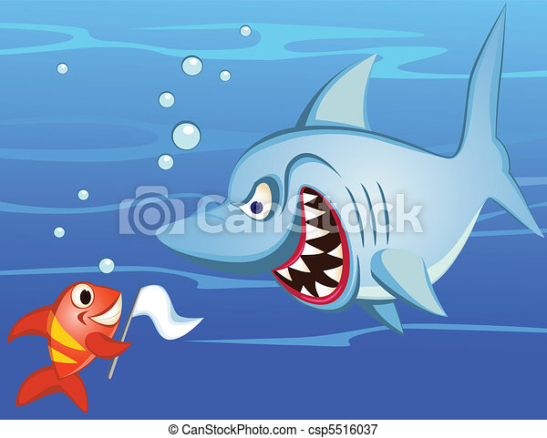 shark and tiny fish make peace - csp5516037