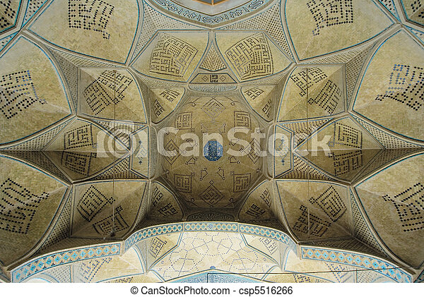 Dome of an ancient mosque, oriental ornaments from Isfahan, Iran - csp5516266