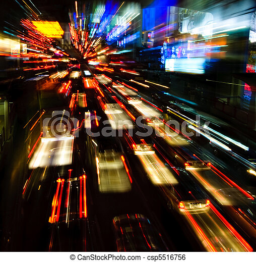 traffic lights in motion blur - csp5516756