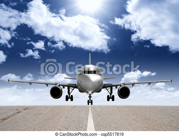 Airplane in the runway - csp5517619