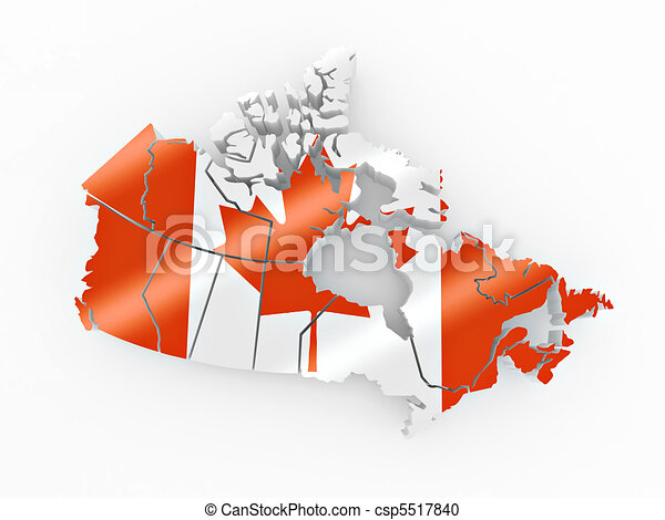 Map of Canada in Canadian flag colors - csp5517840