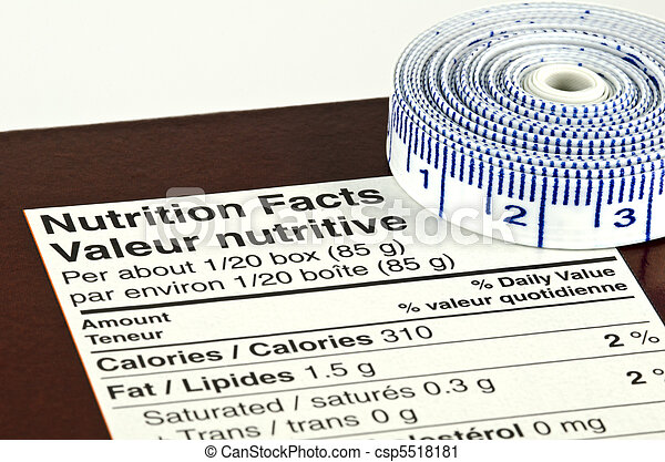 Diet Concept with Nutrition Facts and Tape Measure - csp5518181