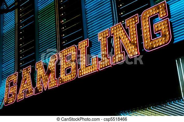 Gambling neon sign, Las Vegas - csp5518466