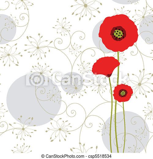 Abstract red poppy greeting card - csp5518534