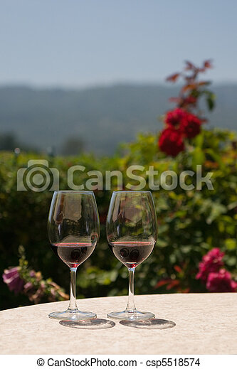 Two glasses of red wine - csp5518574