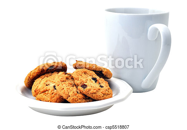 Oatmeal Cookies on Plate and Coffee Isolated - csp5518807