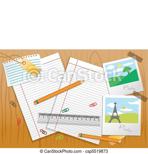 photo with stationary and paper on table - csp5519873