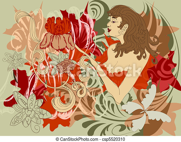 woman with flowers instead of hands - csp5520310