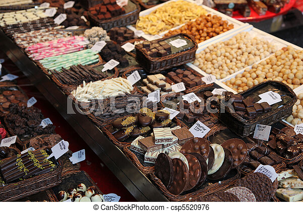 Various types of chocolate delicacies for sale - csp5520976