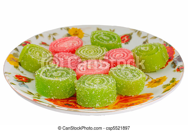 Colorful fruit sugary candies close - csp5521897