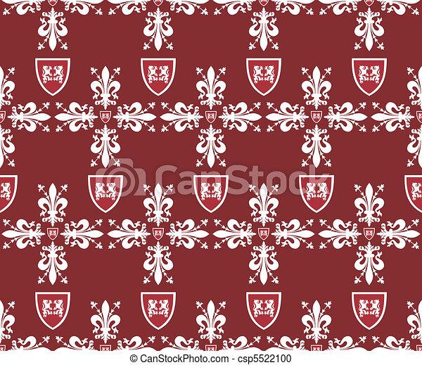 Seamless brown victorian royal vector texture with fleur-de-lis - csp5522100