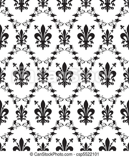 Seamless damask royal vector texture with fleur-de-lis - csp5522101