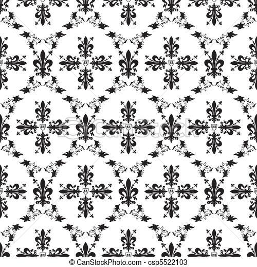 Seamless victorian royal vector texture with fleur-de-lis - csp5522103