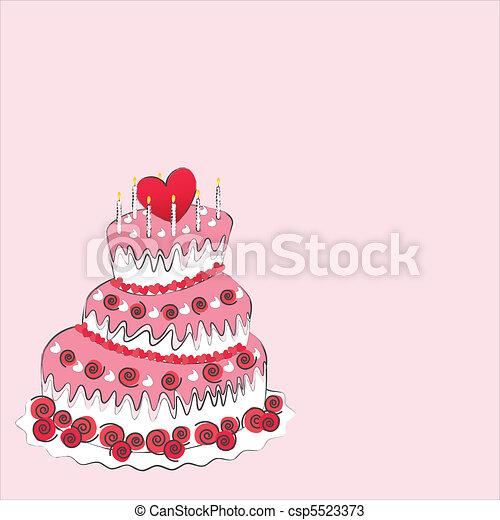 Wedding cake, valentine's day - csp5523373