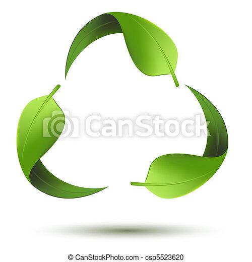 リサイクルしなさい, シンボル, 葉 - csp5523620