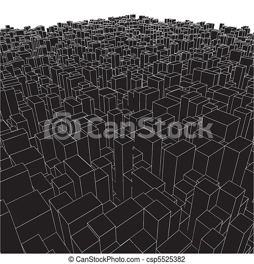 Abstract Urban City Boxes From Cube - csp5525382