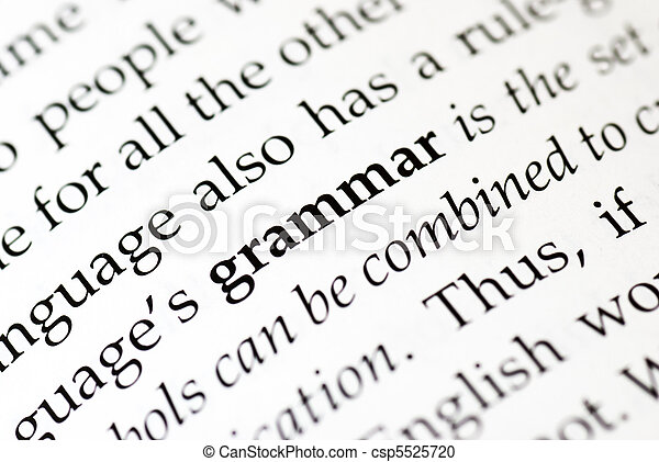 The word \'grammar\' in bold in a book