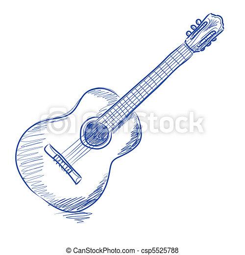 Sketched acoustic guitar - csp5525788