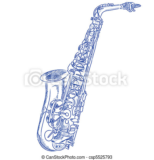 Sketched Saxophone - csp5525793