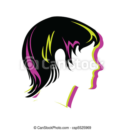Silhouette hair style , face - csp5525969