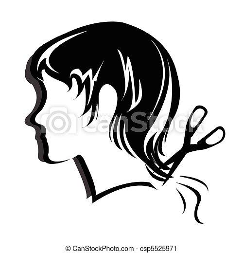 Silhouette hair style , face  - csp5525971