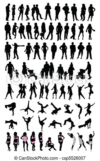 silhouette people set - csp5526007