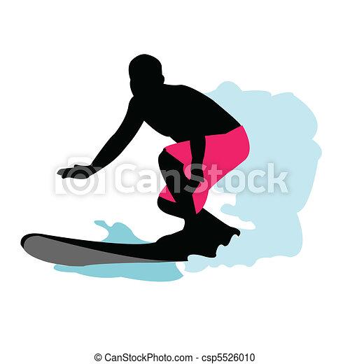 Surfer Silhouette  - csp5526010