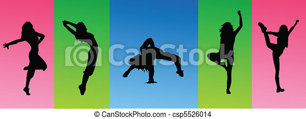 silhouette girl fitness, dance - csp5526014