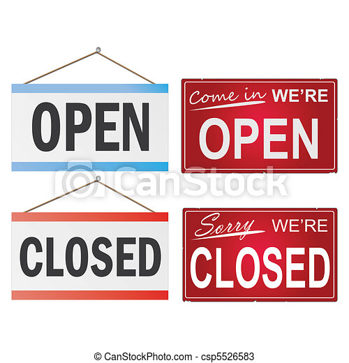 Image of various open and closed business signs isolated on a white background. - csp5526583