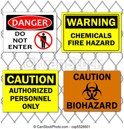 Image of various danger and caution signs on a chain link fence background. - csp5526601
