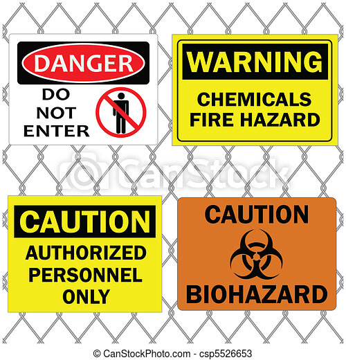 Danger and Caution Signs on Fence - csp5526653