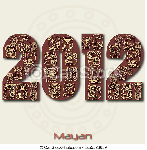 Image of the year 2012 with Mayan ruins isolated on a white background. - csp5526659