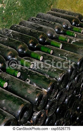 bottles in wine cellar - csp5526775