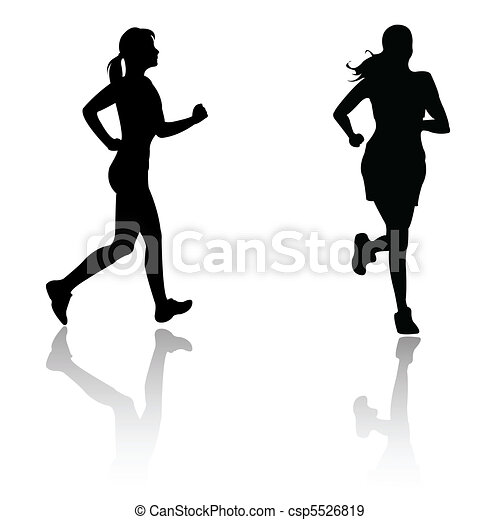silhouette run woman  - csp5526819