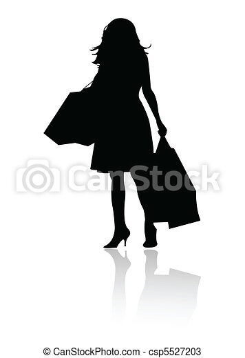 silhouette girl shopping  - csp5527203