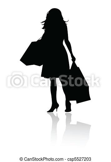 silhouette girl shopping  - csp5527203