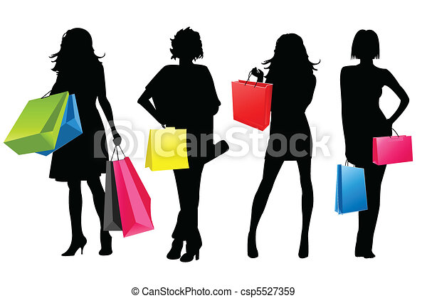 silhouette girls shopping - csp5527359