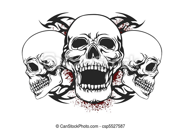 Vectors Illustration Of Skull With Tribal Elements Skull With Tribal Elements Csp5527587