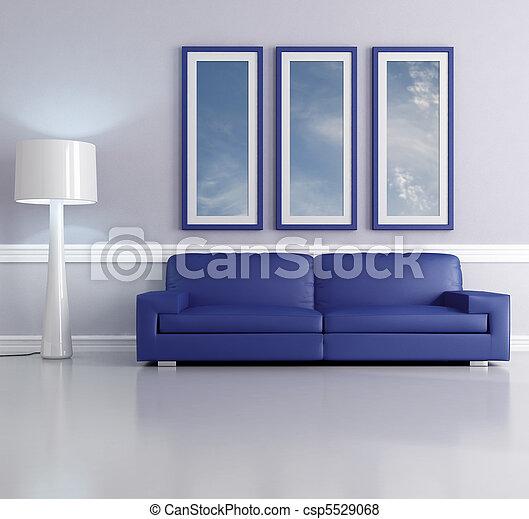 Fotos de azul lounge azul sof vivendo sala l mpada for Sala de estar 3x5