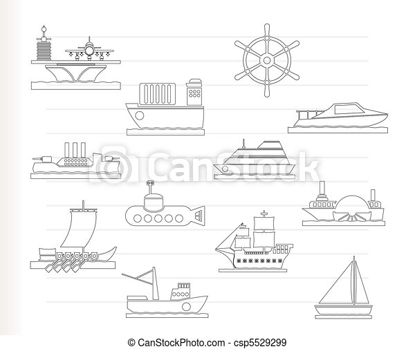 different types of boat and ship  - csp5529299